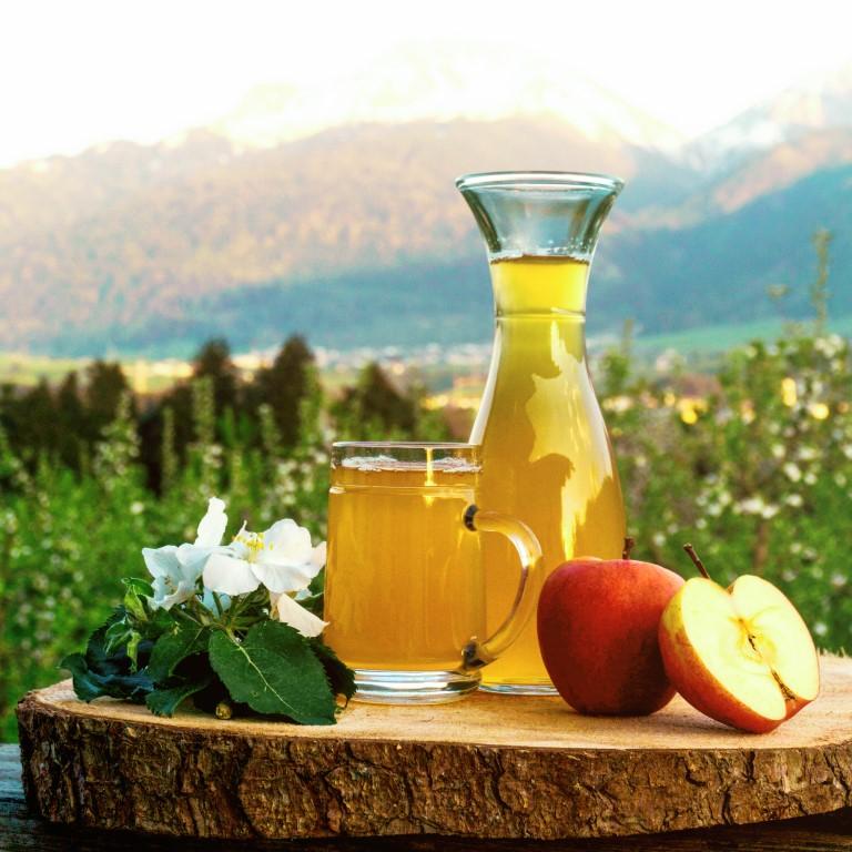 Apfelsaft naturtrüb auf der Sonnenterrasse in der Hofschank genießen